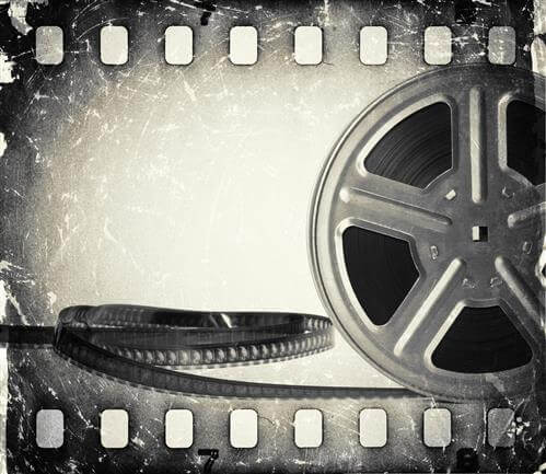 black and white film piece of film reel